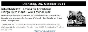 Marga Ruth Meads 'Schwabach-liest'-Lesung im Literaturspiegel