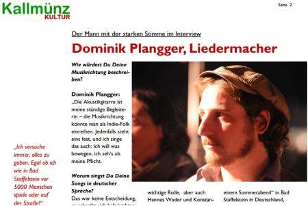 Dominik Plangger im Kallmünz Kultur Newsletter Nov. 2012