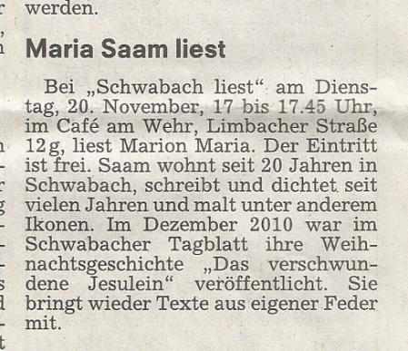 Marion Maria Saam liest heute, 20.11.12